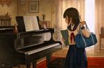 Обои Девочка в школьной форме стоит перед роялем