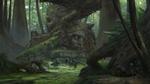 Обои Три особи динозавров резвятся в джунглях возле руин исчезнувшей цивилизации, из укрытия за ними наблюдают два человека с оружием, by Klaus Pillon