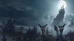 Обои Кладбище со статуями ангелов в тумане и замок Дракулы на вершине скалы в ночь полнолуния