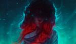 Обои Портрет девушки Vilia / Вилии с красными волосами на фоне падающего снега, by Stefan Dowhan