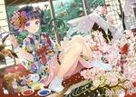 Обои Сказочный мир девочки-художницы, сидящей в японском доме на татами в окружении карпов кои, журавля, цветущей сакуры и др. птиц
