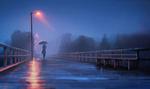 Обои Девушка с зонтом идет по мосту под дождем, by maia zeidan