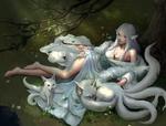 Обои Kitsune / Девушка лисичка лежит на траве под деревом с трубкой в руке, около нее собрались белые лисы-духи
