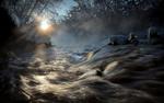 Обои Зимняя река с перекатами в свете солнечных лучей, фотограф Андрей Войцехов
