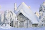 Обои Заснеженный и покрытый изморозью деревянный домик в лесу / Жила зима в избушке, фотограф Татьяна Проценко