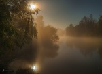 Обои Ночное полнолуние над рекой, покрытой туманом, Астраханская область / Осенние сны Волги, фотограф Лашков Федор