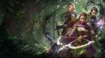Обои Три лесных эльфа вооруженные луком, мечом и магией из игры Mobius Final Fantasy, by jeremy chong