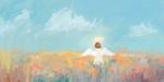 Обои Девочка-ангел стоит среди травы на фоне неба