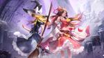 Обои Reimu Hakurei / Рейму Хакурей и Marisa Kirisame / Мариса Кирисаме персонажи из серии компьютерных игр Touhou Project / Проект Восток