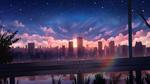 Обои Город в лучах заходящего солнца
