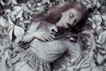 Обои Модель Aleksandra Jеdruch с закрытыми глазами лежит на листьях с цветами в руках, фотограф Marta Ciosek