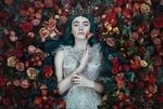 Обои Девушка в короне с розой в руке лежит на розах, by Bella Kotak