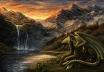 Обои Воин сидит рядом с драконом на фоне красивого пейзажа
