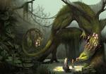 Обои Большой волк наблюдает за девушкой, протянувшей руку к огромному земляному дракону, art by Jade Merien