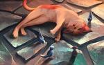 Обои Кот лежит рядом с птицами и мышкой, art by AquaSixio