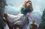 Обои Девушка с корзинкой лилий идет по лесу, by Aleksandra Jedrasik