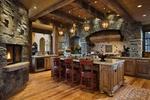 Обои Столовая и кухня из натурального дерева с камином