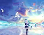Обои Vocaloid Miku Hatsune / Вокалоид Мику Хацунэ с букетами цветов в руках