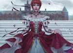 Обои Юная принцесса стоит под дождем на фоне замка и молний в грозовом небе, by Aleksandra Jedrasik & Toshia-San