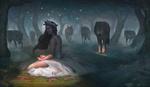 Обои Девушка с розой в окровавленной ладони сидит в темном лесу под охраной волчьей стаи, by Julijana Mijailovic