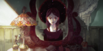 Обои Отражение девушки, позади которой висит черный шар с падающими звездами в зеркале, by viki-vaki