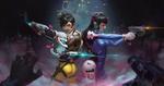 Обои Tracer / Трейсер и D. VA Hana Song / Ханна Сон в бою, арт к игре Overwatch / Дозор, by Hou China