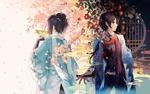 Обои Yamato no Kami Yasusada / Ямато но Ками в двух образах среди красных камелий и под цветущей сакурой, из игры Touken Ranbu / Танец мечей