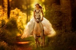 Обои Радостная девушка в свадебном платье на лошади, by Rita Voortman Photography