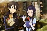 Обои Kirito / Кирито купил продукты и дает Sachi / Сати на пробу яблоко, из за угла за ними наблюдают ребята из гильдии черные коты полнолуния, арт персонажей из аниме Sword Art Online / Мастера Меча Онлайн