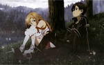 Обои Asuna / Асуна и Kirito / Кирито сидят около дерева под дождем, арт к аниме Sword Art Online / Мастера Меча Онлайн