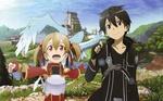 Обои Kirito / Кирито гладит дракончика Pina / Пину, сидищую на плече у Silica / Силики, арт к аниме Sword Art Online / Мастера Меча Онлайн