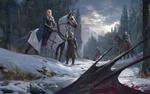 Обои Герои сериала Game Of Trones / Игра Престолов в заснеженном лесу смотрят на падшего дракона, by Bruce Zhang