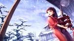 Обои Девушка в костюме горничной в японской гостинице любуется первым снегом из аниме и игры Persona 4 / Персона 4