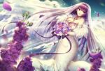 Обои Scathach / Скатах в свадебном платье и с букетом цветов в руках, арт персонажа из онлайн RPG игры Fate: Grand Order / Судьба: Великий Приказ