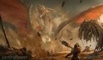 Обои Битва воинов с драконом, арт к игре Golden Warriors / Золотые Воины, by Bruce Zhang