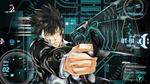 Обои Когами Шинья / Shinya Kogami направил пистолет из аниме Психопаспорт / PSYCHO-PASS