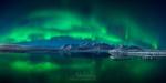 Обои Северное сияние над ледниковой лагуной Jokulsarlon / Йокульсаарлоон, Iceland / Исландия, фотограф Майк Рейфман