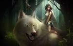 Обои San / Сан на белом волке, арт персонажа из аниме Princess Mononoke / Принцесса Мононоке / Mononoke Hime
