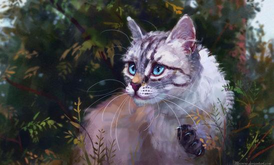 Кошка сидит на дереве, by Meorow