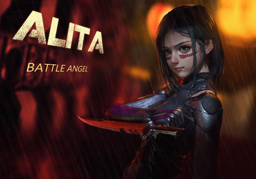 Обои для рабочего стола Alita / Алита из фильма Alita: Battle Angel / Алита: Боевой ангел, by Rui Li