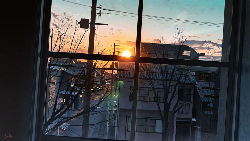 Обои для рабочего стола Вид из окна на улицу во время заката, by banishment