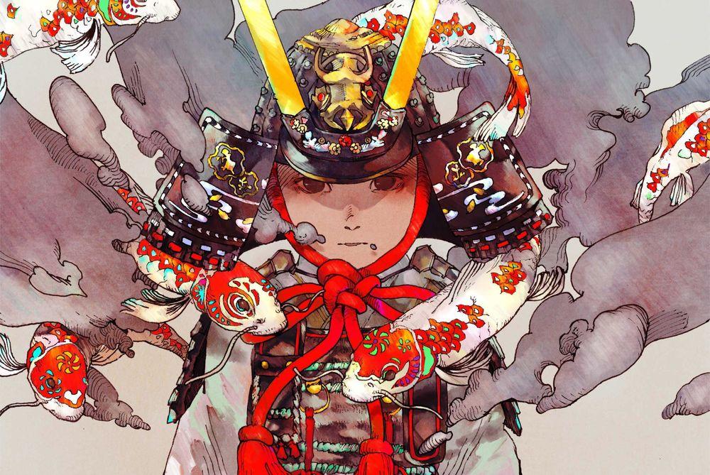 Обои для рабочего стола Самурай в шлеме в окружении карпов кои, by Satomatoma