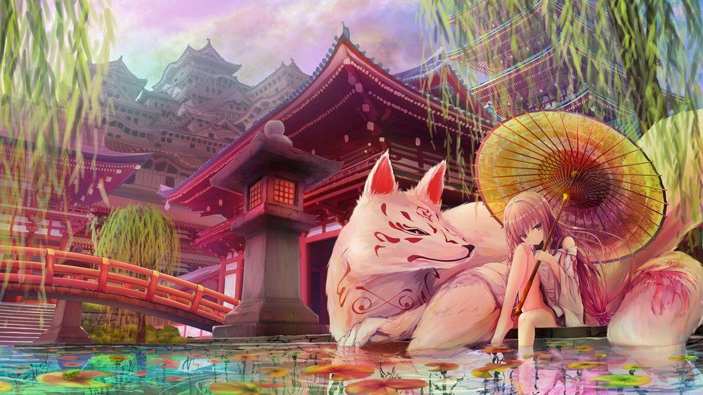 Обои для рабочего стола Девушка с зонтом и лисица кицуне сидят на берегу пруда возле японского замка