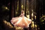 Обои Девушка в длинном пышном платье стоит в лесу, фотограф Melanie Dietze
