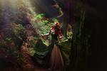 Обои Девушка в длинном платье стоит в лесу, by Melanie Dietze