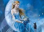 Обои Девушка-фея в голубом платье с букетом цветов сидит на полумесяце рядом с черным котенком, который смотрит на порхающую бабочку, художница Nene Thomas