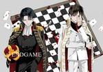 Обои Levi / Леви и Эрен Ягер / Eren Yeager стоят на фоне окровавленной шахматной доски и разбросанных игральных карт из аниме Shingeki no Kyojin / Вторжение гигантов