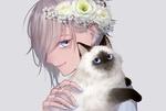 Обои Девушка с цветами на голове и сиамской кошкой в руках