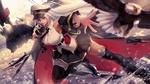 Обои Беловолосая девушка в военной форме несется над водой посреди морского боя, персонаж из мобильной браузерной игры Azur Lane