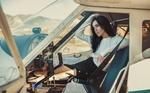 Обои Девушка Джессика сидит в кабине самолета, by Furnari Nicola Davide